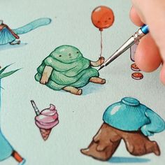 Tiny weird watercolors. . #painting #illustration #watercolor #drawing