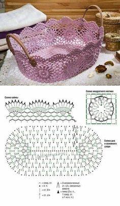 Discover thousands of images about Crochet Decoration Ideas - Craft Day Crochet Storage, Crochet Box, Crochet Lace Edging, Crochet Basket Pattern, Crochet Diagram, Crochet Chart, Thread Crochet, Crochet Gifts, Crochet Doilies
