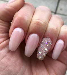 Coffin nude glitter nails
