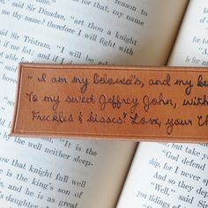 Personalized leather bookmark with branded quote or message for your loved one, Father's Day or anniversary gift on Etsy, $20.00