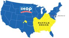 Map: Do You Live In IHOP America Or Waffle House America? - could be used to teach diffusion