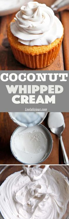 A light and fluffy frosting recipe that is entirely dairy free, vegan and paleo! Whipped coconut cream makes it possible to make a healthier whipped cream topping for your desserts. Keto Option - Another! Brownie Desserts, Oreo Dessert, Coconut Dessert, Mini Desserts, Low Carb Desserts, Homemade Desserts, Cupcake Recipes, Baking Recipes, Whole Food Recipes