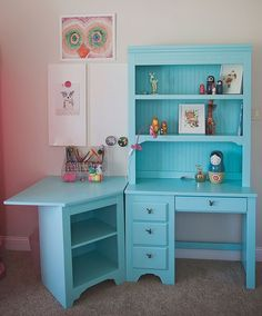 If you need a bit more space, build a corner addition to your makeup desk.   You could also add a small hutch to one or both sides of the addition depending on where and how it will be used.   What a wonderful idea to make a simple desk into a makeup vanity.   Get creative with the paint instead of just one single color.