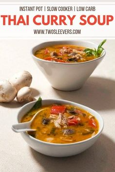 You're going to love this Thai Curry Soup that uses curry paste, coconut milk, and fresh veggies to provide a savory, fun twist on regular chicken soup. Thai Curry Soup | Low Carb Thai Yellow Curry Soup | Instant Pot Thai Yellow Curry Soup | Pressure Cooker Thai Yellow Curry Soup | Slow Cooker Thai Yellow Curry Soup | Curry Soup | Thai Food | Thai Recipes | Curry Soup Recipe | TwoSleevers | #twosleevers #currysoup #yellowcurry #lowcarbsoup #instantpotsoup #chickencurrysoup #thaicurrysoup Thai Curry Soup, Chicken Curry Soup, Thai Curry Recipes, Soup Recipes, Keto Recipes, Dinner Recipes, Dinner Ideas, Curry Dishes, Keto Soup