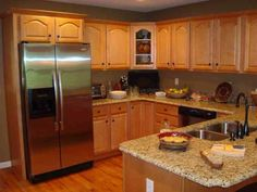 honey oak cabinets with stainless steel appliances - Google Search ...