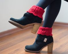 Boot Socks Knitted Red Socks Crocheted Socks by YarnyKnitty