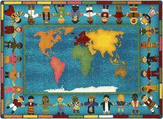 Hands Around the World Classroom Rug 5'4 x 7'8 Rectangle - SensoryEdge