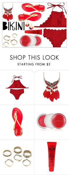 """Red bikini"" by simona-altobelli ❤ liked on Polyvore featuring Clinique and Lizzie Fortunato"