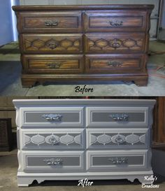 Vintage dresser before and after. Refinished by Kelly's Creations. http://www.facebook.com/pages/Kellys-Creations/524028237619793