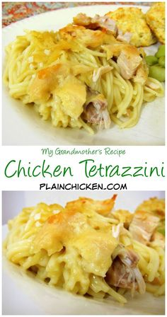 Chicken Tetrazzini Recipe - my Grandmother's recipe! Chicken, vermicelli pasta, cream of chicken and mushroom soup, chicken broth, parmesan cheese. One of my all-time favorite recipes. I can eat way too much of this stuff! Can make ahed and freezer for later.