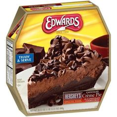Edwards Hershey's Special Dark Chocolate Creme Pie, - Sheri's Store to Door Frozen Chocolate, Hershey Chocolate, Chocolate Fudge, Great Recipes, Snack Recipes, Snacks, Edwards Pies, Strawberry Cream Pies, Delicious Desserts