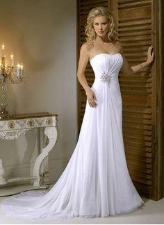 A-Line/Princess Strapless Sweetheart Sweep Train Chiffon Wedding Dress With Ruffle Beading