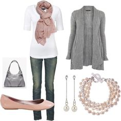 Gray cardigan. White top. Vintage denim. Pink Scarf & Shoes. Perfect shade of pink :)