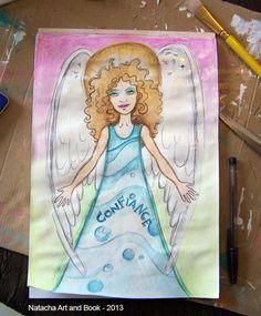 Ange gardien, illustration en techniques mixtes.