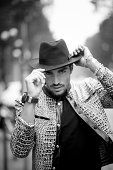 Image converted to black and white Mariano Di Vaio is wearing just cavalli in the streets of Milan during the Milan fashion week on September 18 2014...