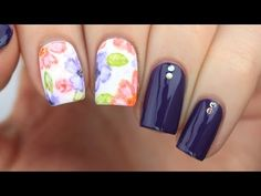 Watercolor Floral Nail Art Tutorial - YouTube