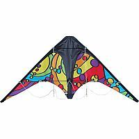 The Rainbow Orbit Zoomer Sport Kite is an entry level dual-line sport kite. Made of ripstop nylon with a fiberglass frame and comes with 65 lb test line with sure grip handles. Rainbow Orbit Zoomer Sport Kite from Premier Kites. Ages 5 to Adult.