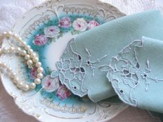 Napkins Doilies Spearmint Green Cutwork  by mailordervintage