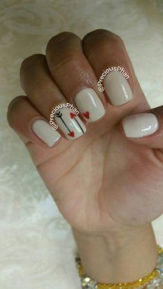 Valentines day nails. Arrow heart nails #PreciousPhanNails