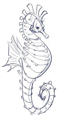 Story art, illustration, concept art, and sketches. Seahorse Drawing, Seahorse Art, Seahorses, Art Sketches, Art Drawings, Coloring Books, Coloring Pages, Petit Tattoo, Drawn Fish