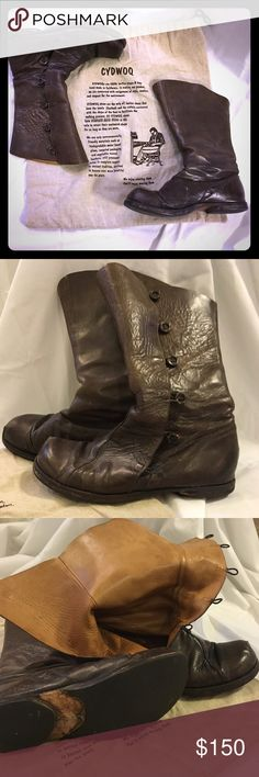Cydwoq leather women's boots size 40 Grey/brown leather, calf height, similar to 'Ride' style currently being sold in Cydwoq site but older version, used but good condition, missing one button, size 40, leather is supple and treated for water, soles in great condition, originally $475-$525, now $150! cydwoq Shoes