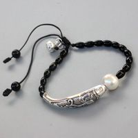 Natural Stone Wholesale Black Pearl With Silver Luck Fish Charm Bracelet For Women Yoga Meditation Doll Unique Handmade Jewelry