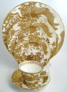 Royal Crown Derby Gold Aves Salad Plates