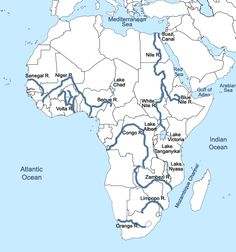 africa with rivers   Homeschool   Map, Geography map, Africa map