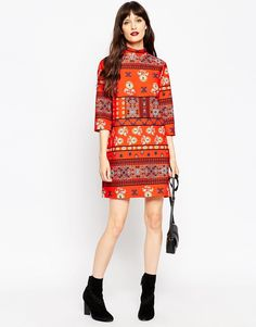 Image 4 ofASOS Structured Folk Shift Dress