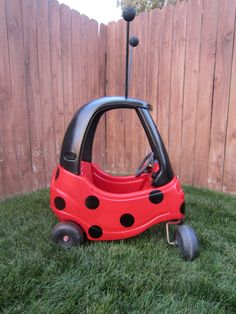Ladybug Car Cozy Coupe Kit Vinyl Sticker and by LoveAlyBug on Etsy, $20.00 Mickey Mouse Car, Mickey Head, Ladybug Crafts, Ladybug Party, Little Tykes Car, Cozy Coupe Makeover, Black And White Stickers, Black Rectangle, White Vinyl