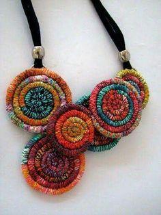 Crochet jewelry necklace fiber art 70 Ideas - Art World Fiber Art Jewelry, Textile Jewelry, Fabric Jewelry, Jewelry Art, Beaded Jewelry, Jewellery, Jewelry Rings, Handmade Necklaces, Handmade Jewelry
