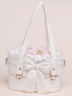 Sweet White PU Leather Flowers Bow Decorated Lolita Bag - Milanoo.com