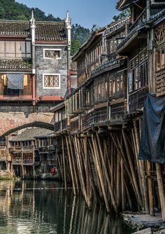Ancient Hunan towns Fenghuang and Furong, Hunan, China.By Pavel Dvorak Places To Travel, Places To See, Places Around The World, Around The Worlds, China Architecture, Art Chinois, Ancient China, China Travel, Beijing