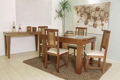 Mesa de Jantar 4 Lugares, Extensível, Imbúia/Vidro Jateado, Paris - 4 Lugares - Mesas/Base p/ Mesas - Sala de Jantar - Toque a Campainha