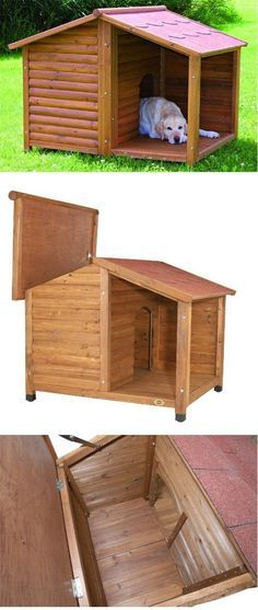 This charming covered porch gives your dog a place to relax outside without being exposed to the elements. Wonderful for sun and rain protection when the temperature is mild. Rustic Dog Houses, Niche Chat, Animal House, Dog Bed, Animals And Pets, Wood Projects, Your Dog, Woodworking, Puppies
