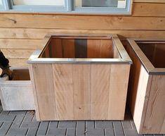 Douglas houten plantenbak op wielen + zinken rand, 100x100x70 cm