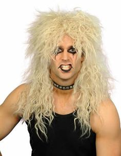 MEN'S OR LADIES ROCK AND ROLL FANCY DRESS WIG. Perfect for a Totally themed birthday party or Butlins event, Music celebrity outfit, or wear a wig day! Turn yourself into a glam rocker with this crazy blonde fancy dress costume wig. Zombie Fancy Dress, 1980s Fancy Dress, Fancy Dress Wigs, Ladies Fancy Dress, Rock N Roll Fancy Dress, Hard Rock, Madonna Hair, Rocker Costume, Mullet Wig