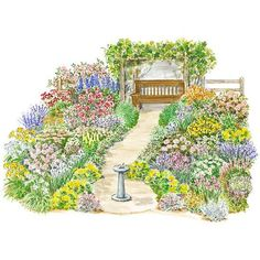 This semiformal garden plan features old-fashioned perennials, fruit, roses, and herbs. A sundial provides a focal point.