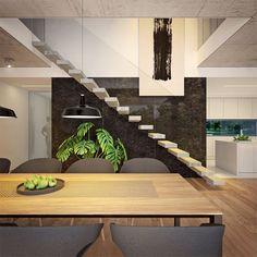 Modny III - dom parterowy z poddaszem użytkowym i garażem   doomo Barn House Plans, Architect House, Prefab Homes, Next At Home, Stairs, Construction, House Design, How To Plan, Living Room
