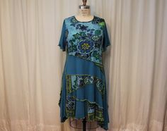 Blue dress XL-1X Altered fashion  Boho women clothing by MilaLem