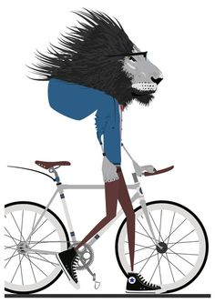 Hipster Lion and his Bicycle Art Print