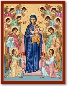 Blessed Virgin Mary Icons: Our Lady Queen of Angels Icon | Monastery Icons