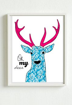 Oh my deer victorian pattern  new designs A3 by ilovedesignlondon