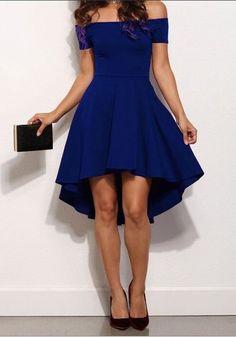 Royal Blue Off-Shoulder High-low Boat Neck A-Line Swallowtail Short Sleeve Skate Dress