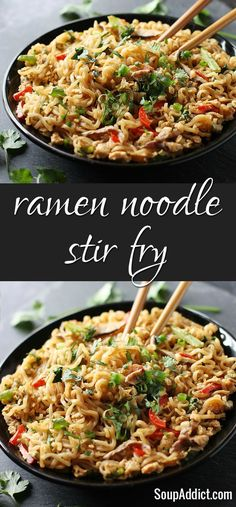 Ramen Noodle Stir Fry - so easy, and full of vegetables with a tangy Asian sauce, from SoupAddict.com