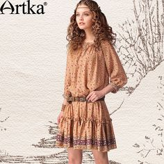 Artka Women's Retro Ethnic Floral Print Loose A-line Scoop Neck Wrapped Buttons Hem Three Quarter Sleeve Dress LA11141C