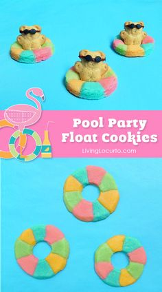 Easy summer recipe for a pool party! Cute Rainbow Pool Float Cookies with Mini Teddy Grahams and Life Preserver Cookies. Fun food recipe for sugar cookies. Summer Pool Party, Luau Party, Summer Parties, Party Fun, Beach Party, Party Time, Summer Fun, Summer Bash, Teddy Grahams