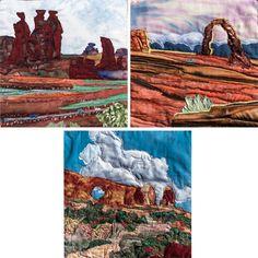 Utah Triad     Original Landscape Quilt, Watercolor Quilt