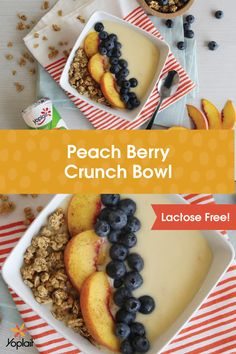 Grab your spoons! This Lactose Free Peach Berry Crunch Bowl is amazing. Make your own smoothie bowl by mixing two containers of Yoplait Lactose Free Peach yogurt with a little orange juice. Pour into two bowls and top with sliced peaches, blueberries, Nature Valley Oats 'N Honey Protein Granola and a sprinkle of cinnamon.