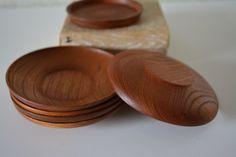 Set of five wood tea saucers, vintage Japanese chataku by StyledinJapan on Etsy